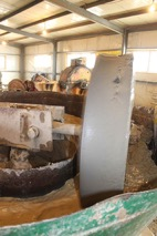 So-called Chinese wheel which is used for milling crushed gold ore with mercury